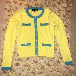 Yellow And Blue Color Block Cardigan